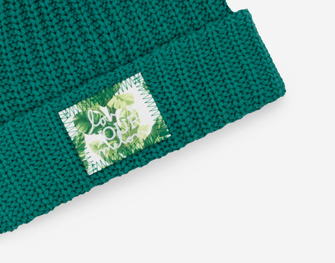 Quetzal Green Pom Beanie (Banana Leaf Patch)
