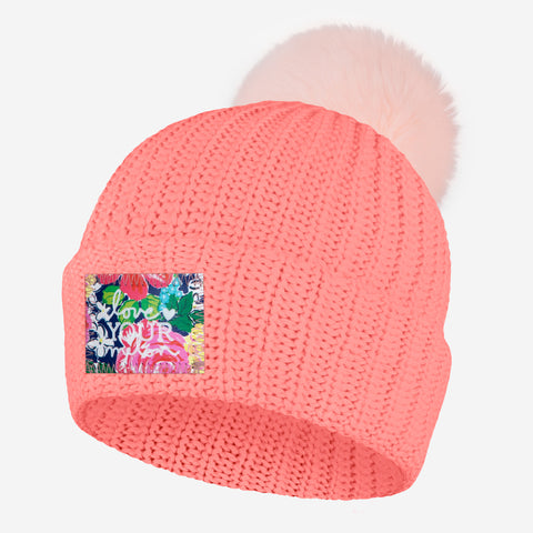 Pink Salmon Pom Beanie (Rose Garden Patch)