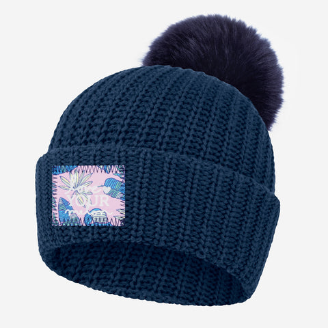 Light Navy Pom Beanie (Pink Palmetto Patch)