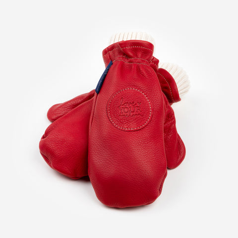 Red Leather Knit Mittens (White Knit Liner)