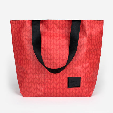 Red Knit Vinyl Tote