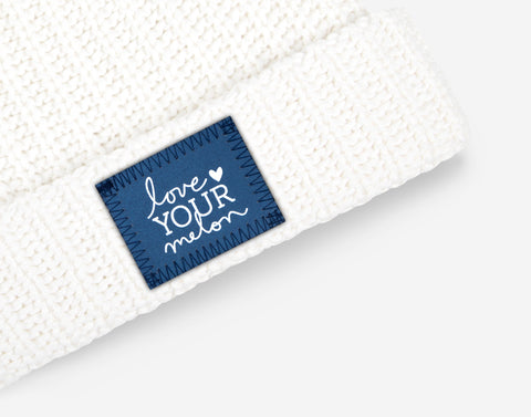 White Frost Pom Beanie (Navy Reflective)-Beanie-Love Your Melon