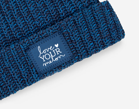 Midnight Speckled Frost Pom Beanie (Navy Reflective)-Beanie-Love Your Melon