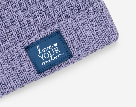 Light Purple and Navy Speckled Frost Pom Beanie (Navy Reflective)