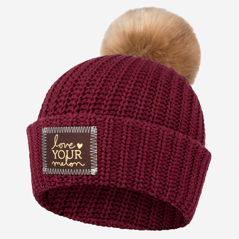 Burgundy Gold Foil Pom Beanie (Red Maple Patch)-Love Your Melon