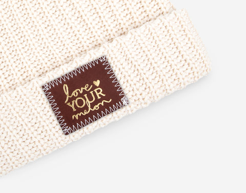 Natural Gold Foil Cuffed Beanie (Red Maple Patch)