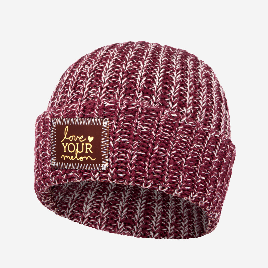 8caf0aa266aad Love Your Melon Burgundy and Natural Speckled Cuffed Beanie (Red Maple Gold  Foil Patch)