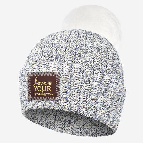 Navy Speckled Pom Beanie (Red Maple Gold Foil Patch)-Beanie-Love Your Melon