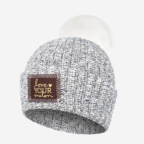 Kids Navy Speckled Pom Beanie (Red Maple Gold Foil Patch)-Beanie-Love Your Melon