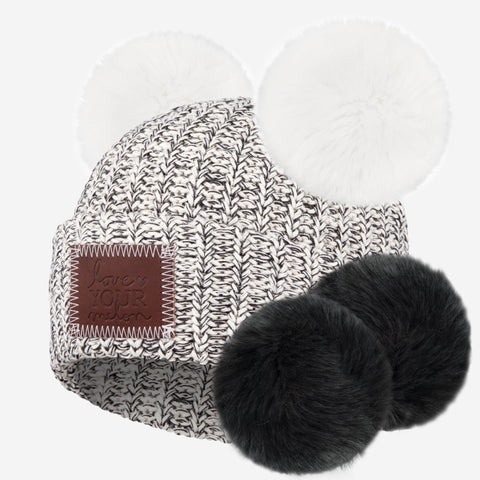 Black Speckled Double Pom Beanie with Pom Pack