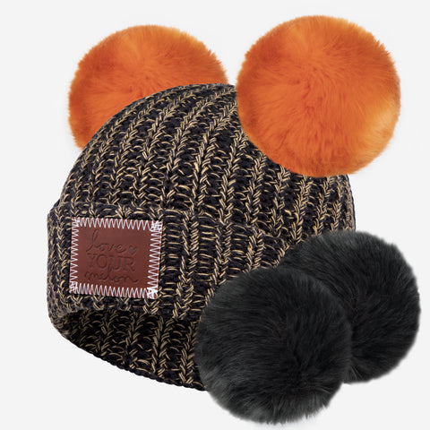 Leopard Speckled Double Pom Beanie with Pom Pack