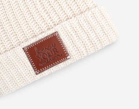 White Speckled Pom Beanie (Burnt Orange Pom)