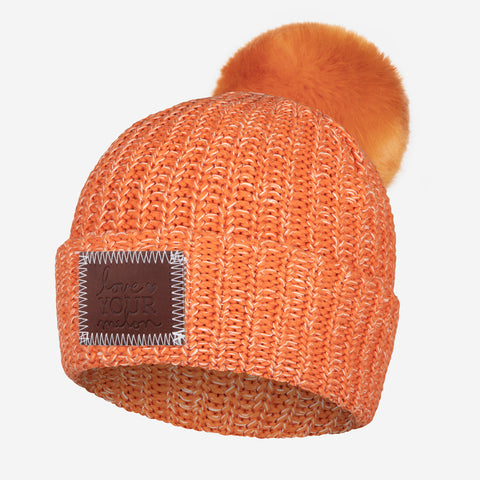 Longhorn and White Speckled Pom Beanie (Burnt Orange Pom)