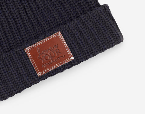 Charcoal and Navy Speckled Pom Beanie (Burnt Orange Pom)