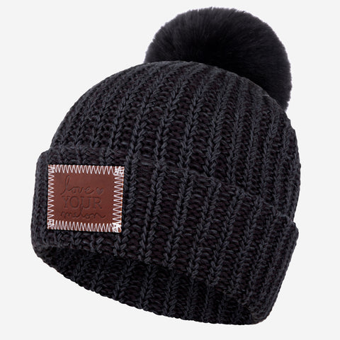 Smoke Speckled Pom Beanie (Black Pom)-Beanie-Love Your Melon