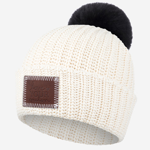 Natural Pom Beanie (Black Pom)-Beanie-Love Your Melon