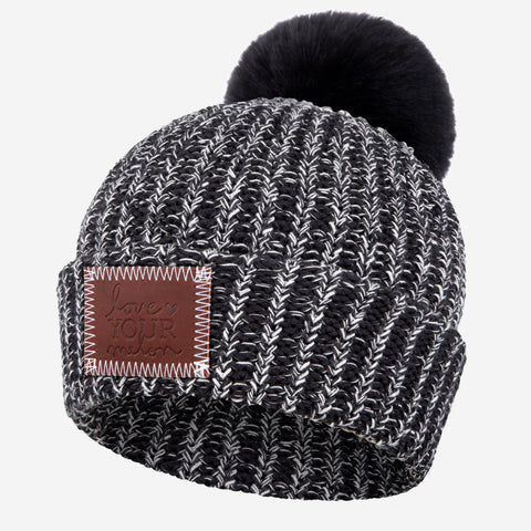 Black and White Speckled Pom Beanie (Black Pom)-Beanie-Love Your Melon