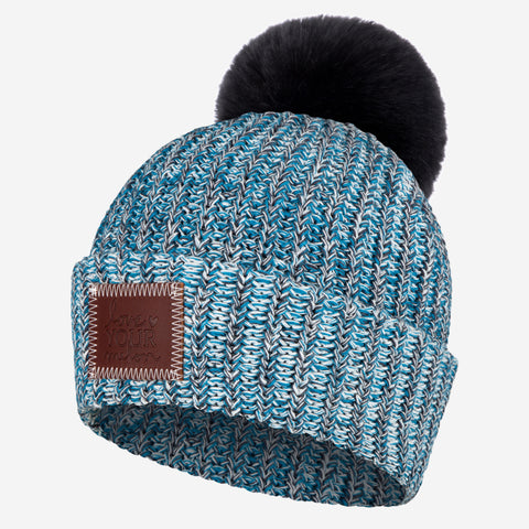 Ice Blue Pom Beanie (Black Pom)-Beanie-Love Your Melon