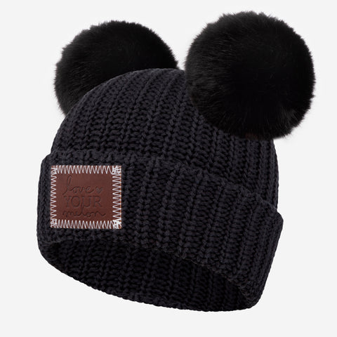 Black Double Pom Beanie (Black Poms)