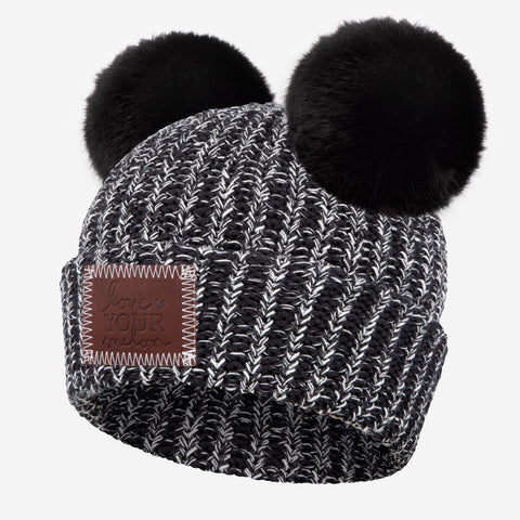 Black and White Speckled Double Pom Beanie (Black Poms)