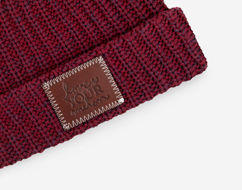 Burgundy and Navy Speckled Double Pom Beanie with Pom Pack