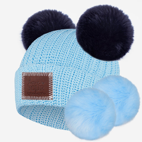 Soft Blue Double Pom Beanie with Pom Pack