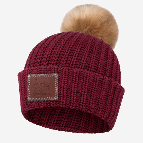 Burgundy Pom Beanie (Natural Pom)-Beanie-Love Your Melon