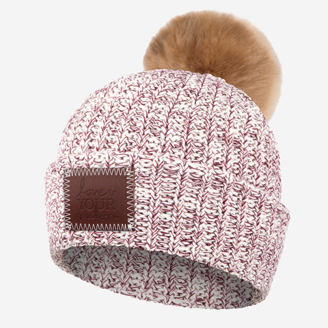 Burgundy Speckled Pom Beanie (Natural Pom)-Beanie-Love Your Melon