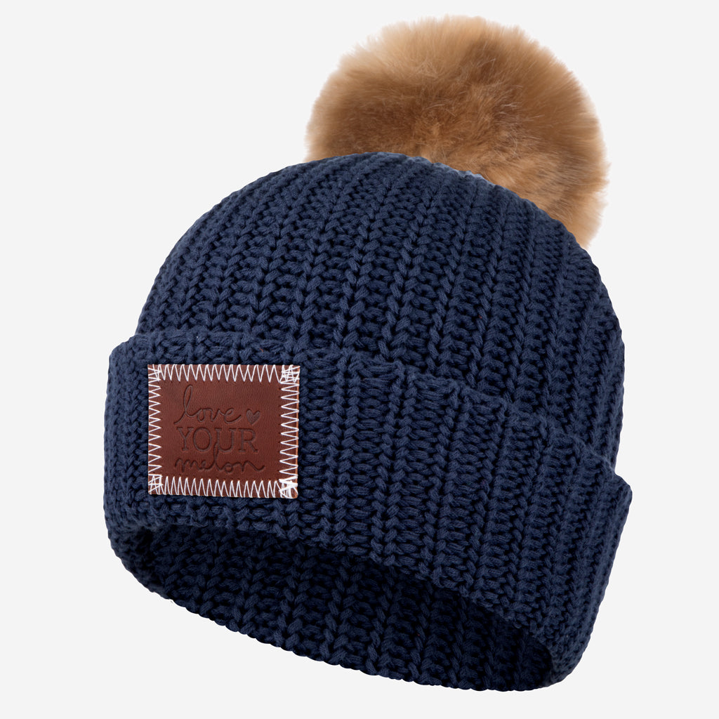 2f8fb7ac808 Love Your Melon Navy Pom Beanie (Natural Pom)