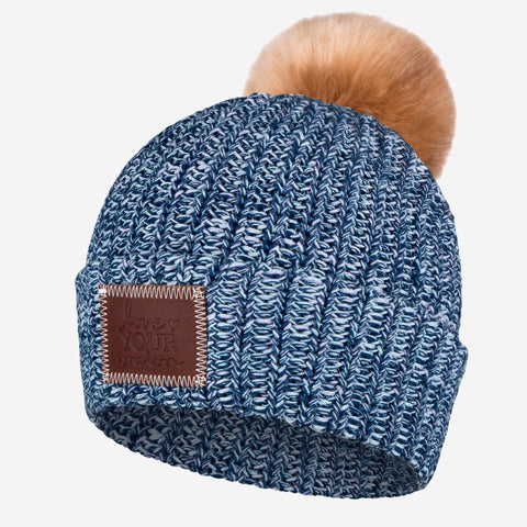 Mermaid Blue Pom Beanie (Natural Pom)-Beanie-Love Your Melon