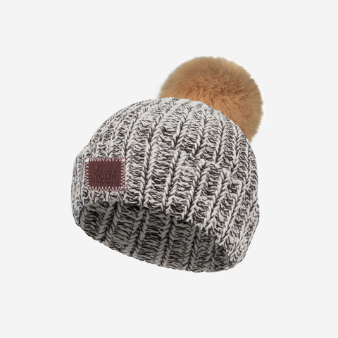 Black Speckled Baby Pom Beanie