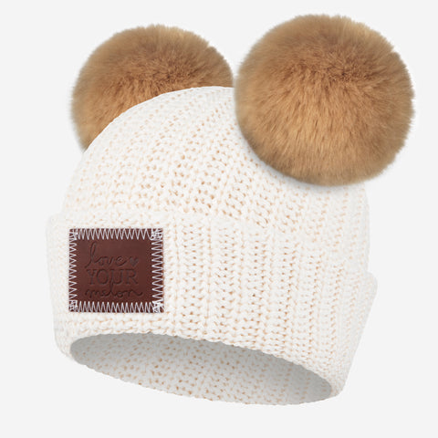 White Speckled Double Pom Beanie (Natural Poms)