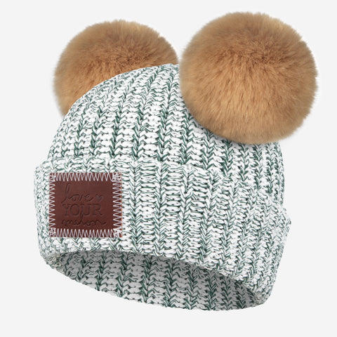 Hunter Speckled Double Pom Beanie (Natural Poms)