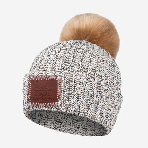 Kids Black Speckled Pom Beanie (Natural Pom)-Beanie-Love Your Melon