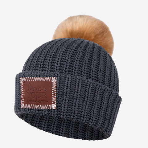 Kids Dark Charcoal Pom Beanie (Natural Pom)-Love Your Melon