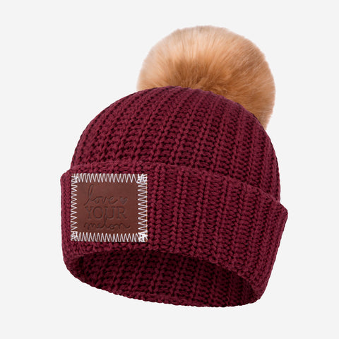 Kids Burgundy Pom Beanie (Natural Pom)-Beanie-Love Your Melon