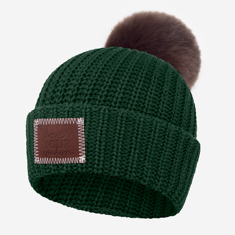 Hunter Green Pom Beanie (Dark Brown Pom)