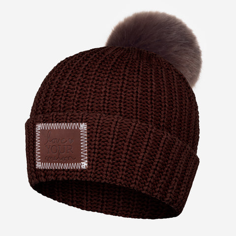 Chocolate Pom Beanie (Dark Brown Pom)