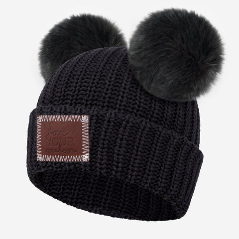 Black Double Pom Beanie (Dark Charcoal Poms)