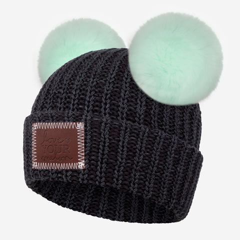 Smoke Speckled Double Pom Beanie (Seafoam Poms)