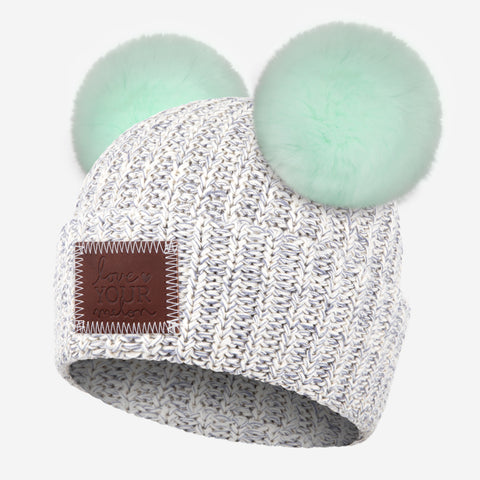 Gray Speckled Double Pom Beanie (Seafoam Poms)