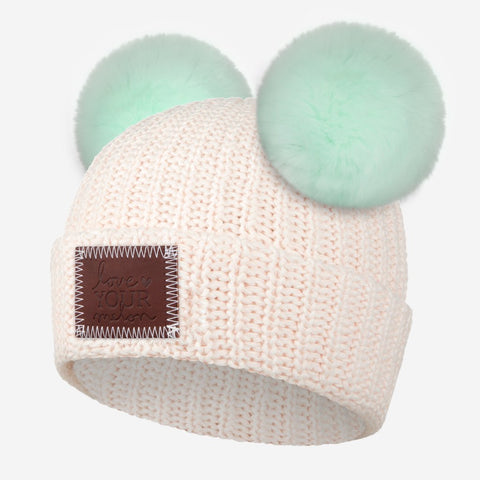 Blush Speckled Double Pom Beanie (Seafoam Poms)