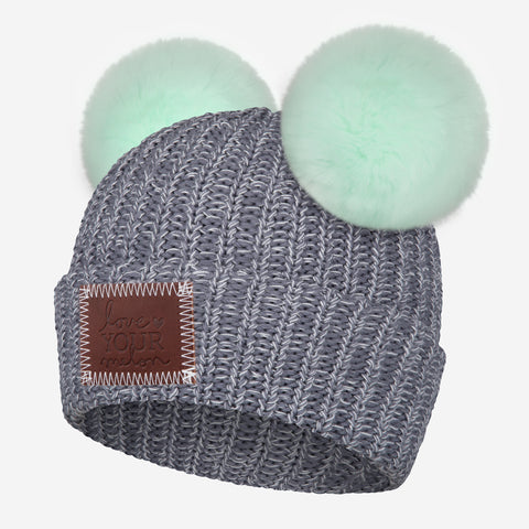 Light Charcoal and White Speckled Double Pom Beanie (Seafoam Poms)