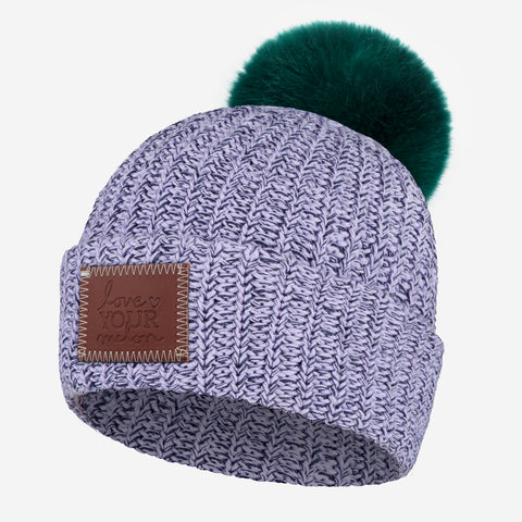 Light Purple and Navy Speckled Pom Beanie (Hunter Pom)