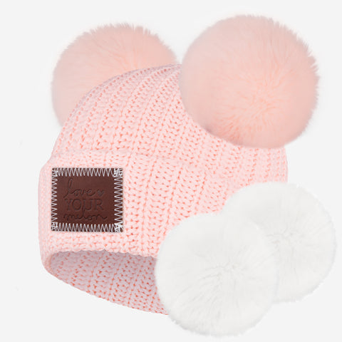 Blush Double Pom Beanie with Pom Pack