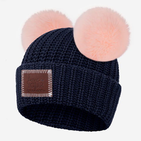 Navy Double Pom Beanie (Light Pink Poms)