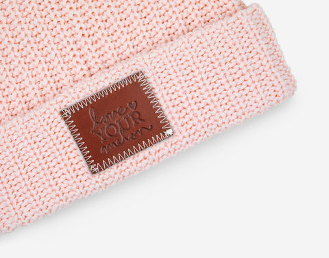 Blush Double Pom Beanie (Light Pink Poms)