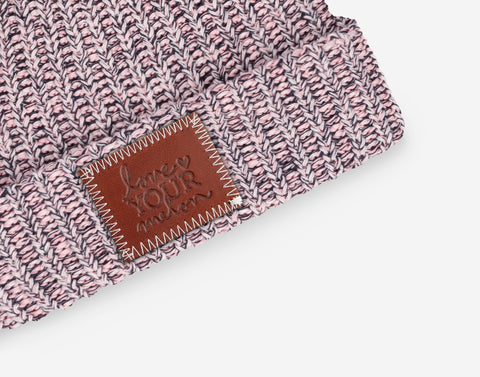Nautical Double Pom Beanie (Light Pink Poms)