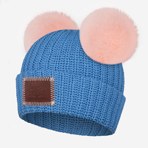 Soft Blue Double Pom Beanie (Light Pink Poms)