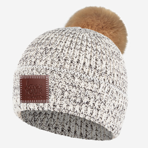 Black Speckled Lightweight Pom Beanie